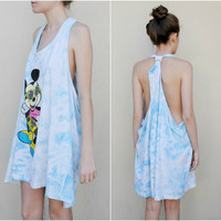 SALE MAE.VALENTE Vintage 80s Tie Dyed Mickey Mouse Tank Dress