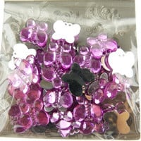 Acrylic Butterfly Rhinestone Crafts, 15mm, 50-piece
