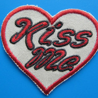 Iron on Embroidered Patch KISS ME with your Heart 2.5""