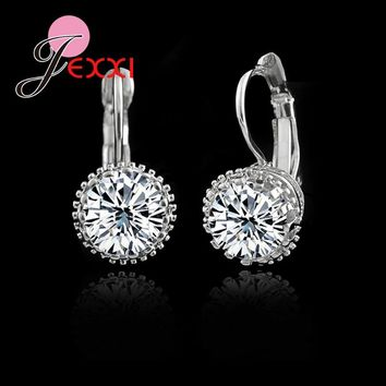 JEXXI High Guaranteed!Real 925 Sterling Sliver Fashion Jewelry Shiny 2 Carat CZ   Cubic Zirconia Woman Dangle Earrings