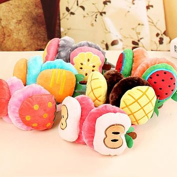 Watermelon Strawberry kids Cartoon Fruits Earmuffs fluffy Plush girls ear cover in winter warm Ear muffs ear protector 6 styles