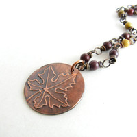 Etched Leaf Autumn Jewelry Mookaite Gemstone Wire Wrapped Link Necklace Etched Leaf Pendant Earth Tone Jewelry