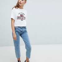 Pull&Bear Straight Leg Jean Cropped With Frayed Hem at asos.com