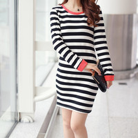 Bowknot Trim Striped Bodycon Dress