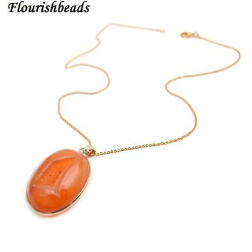 Natural Geode Druzy Agate Stone Pendant Linked Chains Necklace Polished Champagne Color Fashion Woman Party Jewelry