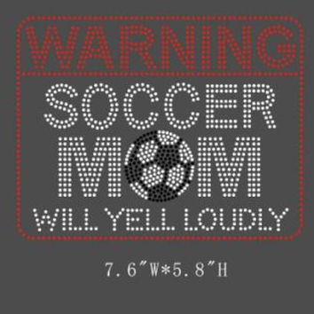 Soccer Mom hotfix iron on heat transfers - DIY team mascot spirit shirt red soccer mom shirts tees - appliqué