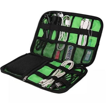 Convenient Multi-Compartment Cable and Charger Travel Bag Black