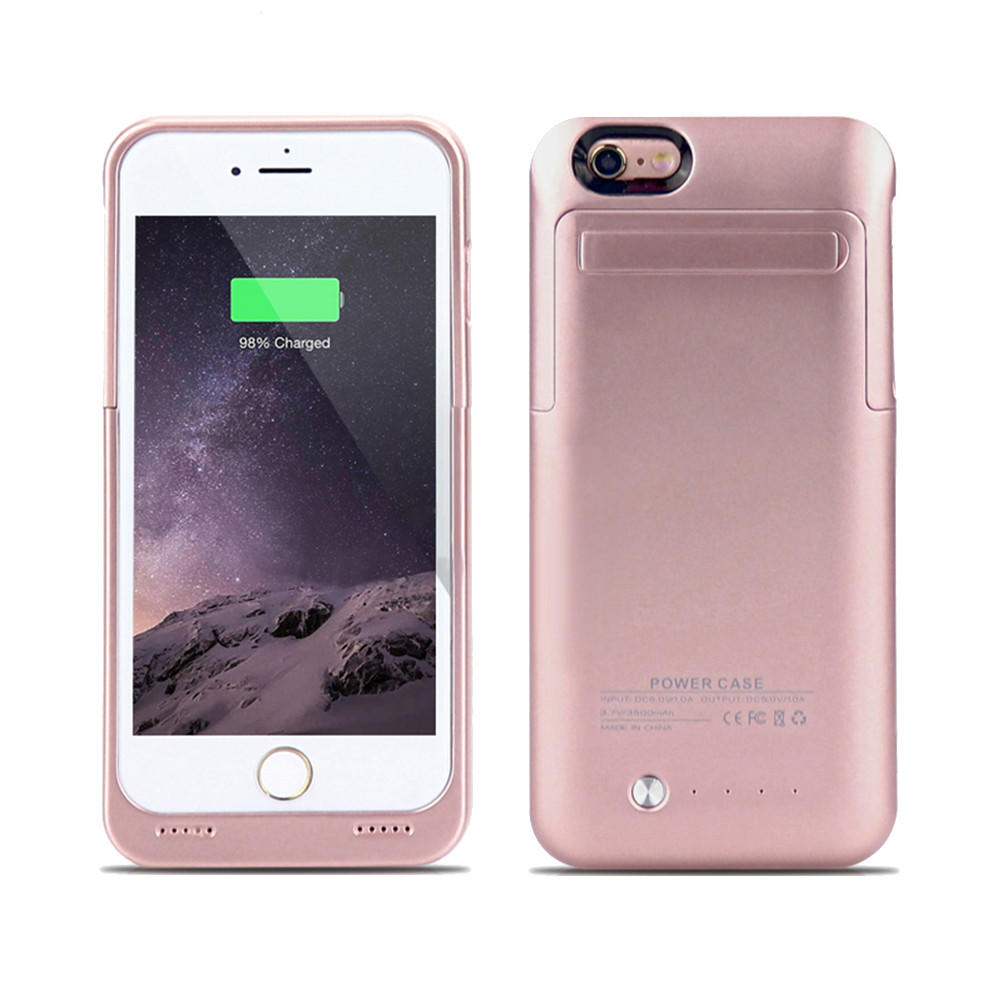 IPhone 6   6S Plus External Battery Backup Case Charger Power Bank 3500mAh  Stand Rose 242a861611fe