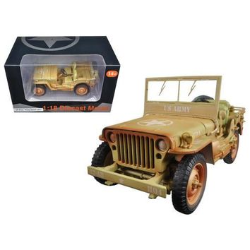 US Army WWII Jeep Vehicle Desert Color Weathered Version 1/18 Diecast Model Car by American Diorama
