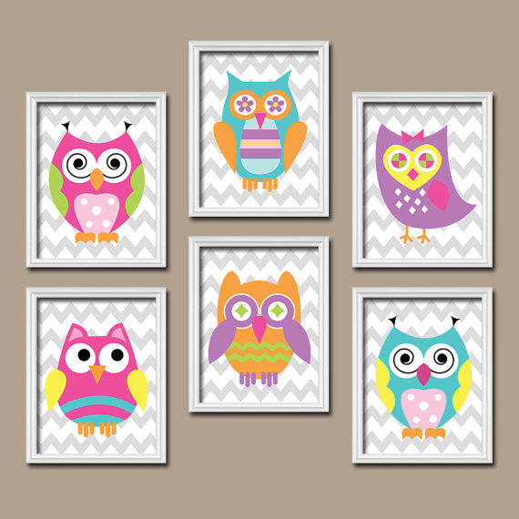 Funky bold bright colorful owl artwork from trm design for Funky nursery ideas