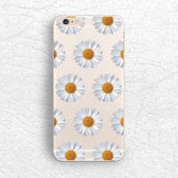 Daisy flower matte transparent phone case for iPhone 5 5s, iPhone 6, Nexus 6, Sony z3, HTC one m8, LG g3, Samsung note 4 floral case -P16