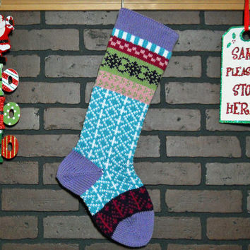 Colorful Hand Knit Christmas Stocking, Fair Isle Design, Lavender Cuff with Rich Orchid Pink Trees, can be personalized