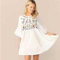 Embroidered Floral Flounce Sleeve Smock Dress A Line Women Flared Dresses High Waist Dresses