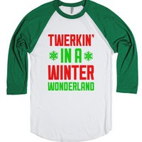 Twerkin' In A Winter Wonderland-Unisex White/Evergreen T-Shirt