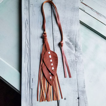 Leather Feather on Leather Necklace Brown 233Y