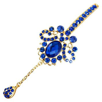 Flower Bridal Head Chain Blue Crystal Hairpin Wedding Forehead Headpieces Hair Accessories Indian Hair Jewelry For Women