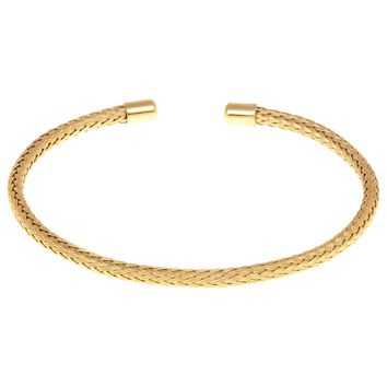 Stainless Steel Braided Cable Wire Cuff Bangle Bracelet with Gold Plating