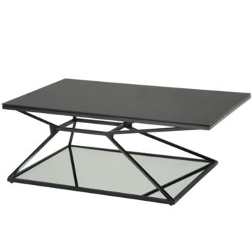 WEG BLACK PAINTED STEEL FRAME WITH BLACK TEMPERED GLASS TOP AND MIRRORED GLASS BOTTOM COFFEE TABLE