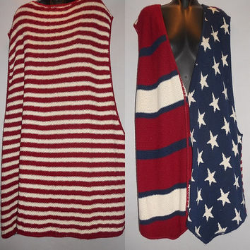 Vintage Red White and Blue Stars and Stripes XXL Oversized Sweater Vest 4th of July