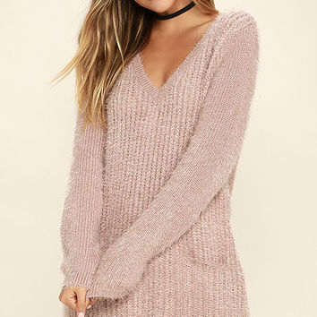 Jack by BB Dakota Aristella Mauve Sweater Dress