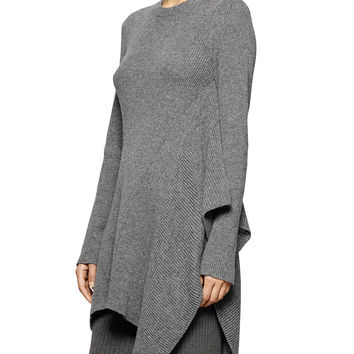 Crewneck Ribbed Cascading Tunic Sweater, Size: