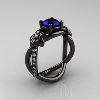 Designer Classic 14K Black Gold 10 CT Blue Sapphire by artmasters