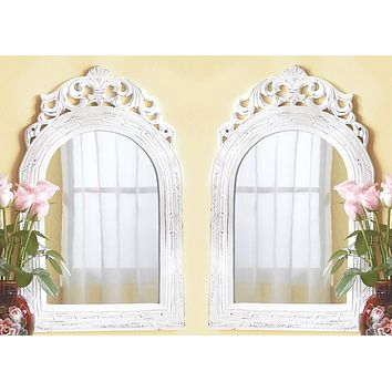 Set of 2 Arched-top Wall French Country Mirrors