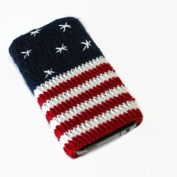 iPhone 5 / 4 / 4S / Case, Gadget Sleeve - American flag Crochet Case . Handmade Iphone Case