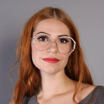 70s GLASSES Frames / Dramatic Pearly Shell PINK & Gold Trim EYEGLASSES