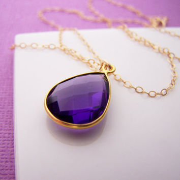 Amethyst Necklace - Amethyst Hydro Quartz - February Birthstone - 14k Gold Fill Necklace - Teardrop Briolette Necklace - Gift for Her