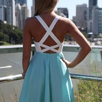 Baby Blue Mariah Dress lace top criss cross back detail from xeniaeboutique