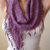 Purple Cotton Scarf with Purple Trim Edge - Scarf - Shawl