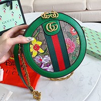 GUCCI New Retro Fashion Women Shopping Bag Leather Flower Print Circular Shoulder Bag Crossbody Satchel