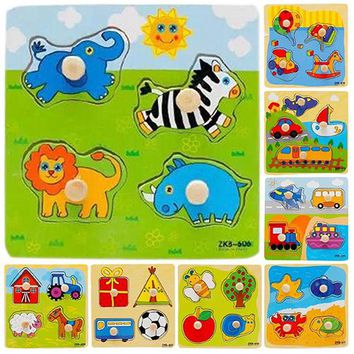 Baby Toddler Intelligence Development Animal Cognize Wooden Colorful Brick Puzzle Toy  8PYH