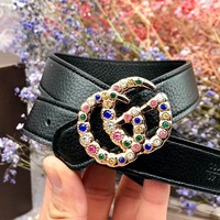 GUCCI 2019 new female models wild color diamond diamond double G buckle belt