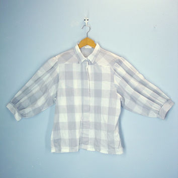 Vintage 80s Blouse / Gray White Check Shirt / Dolman Puffed Sleeves
