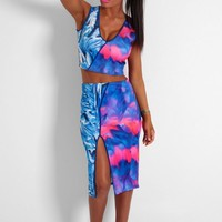 Poison Blue Multi Print Midi Skirt | Pink Boutique