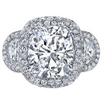 5.50ct Cushion Moissanite & Diamond Engagement ring JEWELFORME BLUE
