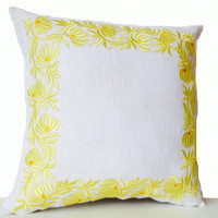 Decorative Throw Pillow Case in White Linen with Flower Embroidery - Cushion in Floral Detail - Anniversary Wedding Bridesmaid Gifts - 16x16
