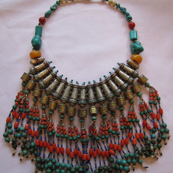 Tibetan Necklace Drippy Tribal Coral Turqouise Lapis