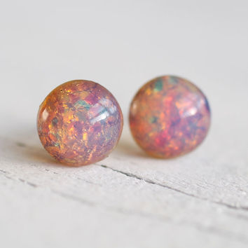 Pink Firestone Earrings  vintage pink opal by SilkPurseSowsEar