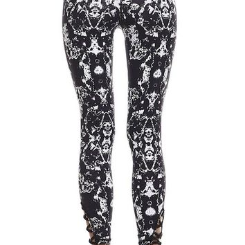 NEW MOON PRINTED LEGGINGS - BLACK + WHITE