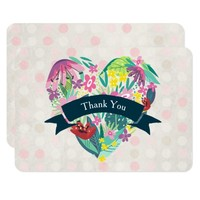 Cute Floral Heart in Pink and Green Thank You Card