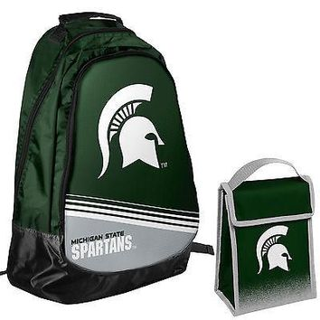 Michigan State Spartans NCAA One Size Backpack Core Bag Insulated Lunch Box