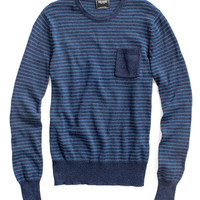 Indigo Stripe Pocket Crew Sweater