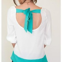 Multi Short Sleeve Top - Turquoise Trim Blouse with Tie | UsTrendy