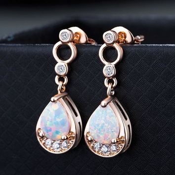 STYLEDOME Multicolor Oval Natural Stone Big Earrings Rose Gold Opal Drop Earrings