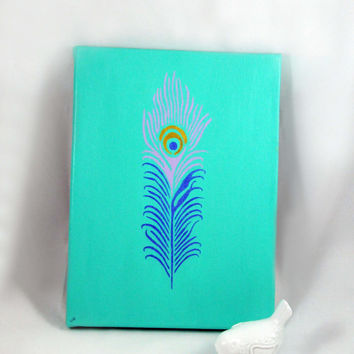 Peacock Feather Painting, Canvas Wall Art, Simple Turquoise Metallic Home Decor, Colorful Aqua Wedding Reception Display, Peacock Decoration
