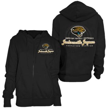 Jacksonville Jaguars Ladies Black Double Coverage Full Zip Hoodie Sweatshirt