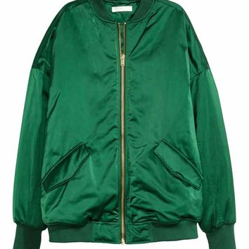 Oversized bomber jacket - Emerald green - Ladies | H&M GB